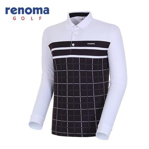 [레노마골프]18SS 남성 사각체크 프린트 카라 티셔츠 RMTPH1104-100