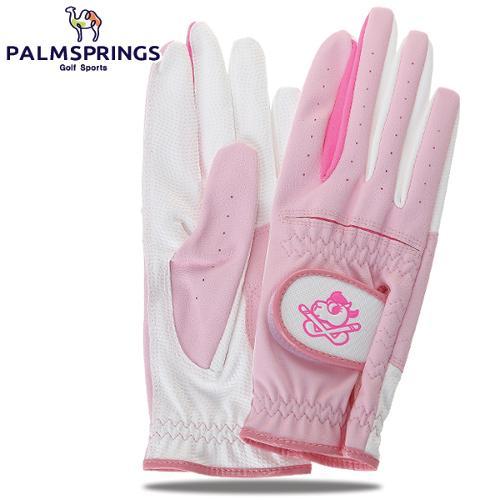[팜스프링스] 중앙 로고 배색포인트 여성 골프장갑(양손구성)/골프용품_239356