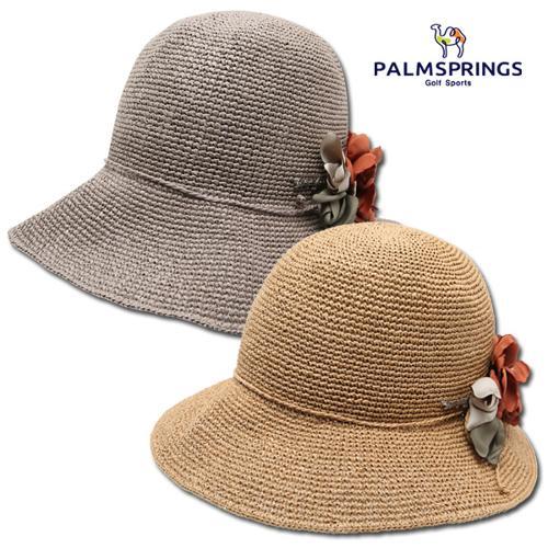 [팜스프링스] 페이퍼 플라워 코사지 여성 버킷 모자/챙모자/골프모자_239660