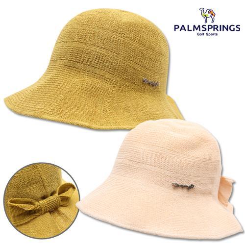 [팜스프링스] 린넨면혼방 리본 포인트 여성 버킷 모자/골프모자_239654