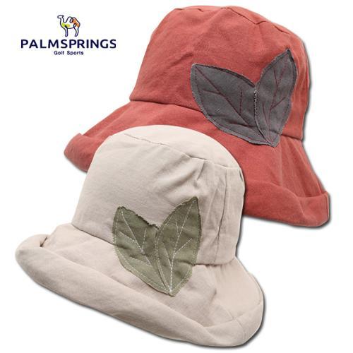 [팜스프링스] 린넨혼방 나뭇잎 패치 여성 버킷 모자/골프모자_239653