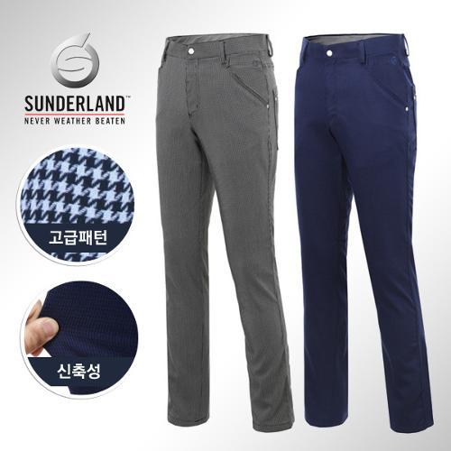 [Sunderland Of Scotland] 선덜랜드 남성 노턱 스판소재 하운드투스 체크무늬 골프바지/팬츠 - 16541PT11