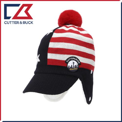 커터앤벅 여성 겨울 방한 스트라이프 방울 귀마개 모자 - PB-14-174-214-12
