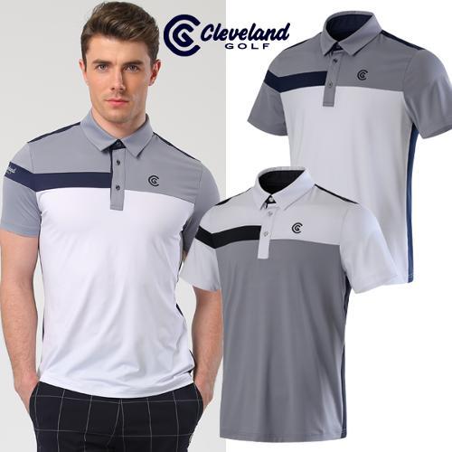 [클리브랜드골프] 벅스로고 배색 스트레치 남성 반팔 티셔츠/골프티셔츠/골프웨어_CGKMTS226