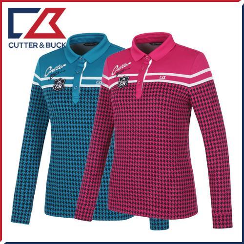 커터앤벅 여성 스판소재 체크 패턴포인트 카라 긴팔티셔츠 - SL-11-164-201-15