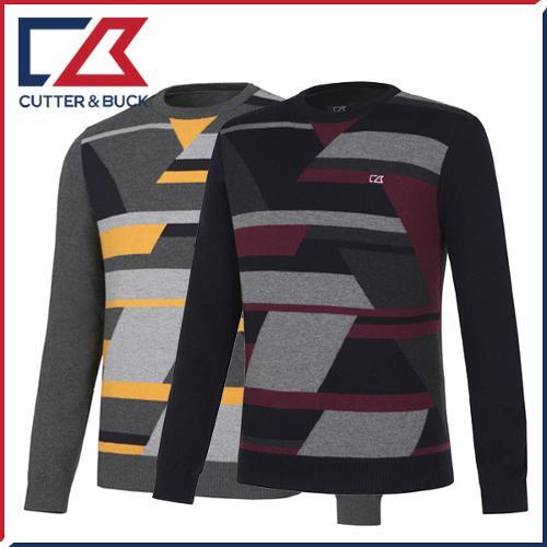 커터앤벅 남성 니트소재 블럭 배색포인트 라운드 긴팔스웨터 - SL-11-163-102-14