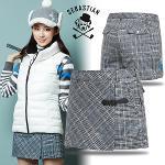 [세바스찬골프] 파스텔 체크 패턴 여성 패딩 골프 반바지/골프웨어_240668