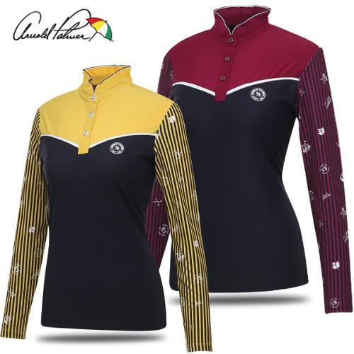 [아놀드파마] 넥 셔링 소매 스트라이프 여성 긴팔티셔츠/골프웨어_240878