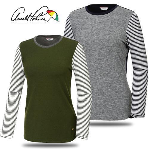 [아놀드파마] 레이온 스판 줄무늬배색 여성 긴팔티셔츠/골프웨어_240148