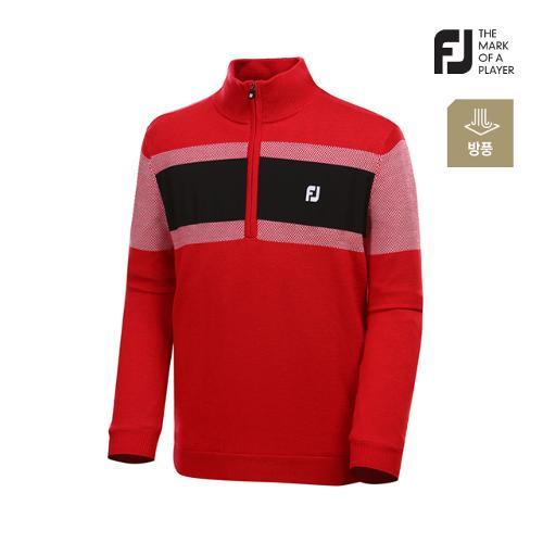 [풋조이] 남성 컬러 블록 라인 반집업 스웨터 92665_GA