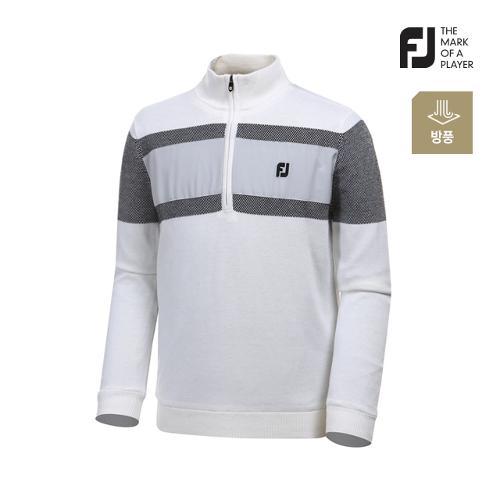 [풋조이] 남성 컬러 블록 라인 반집업 스웨터 92666_GA