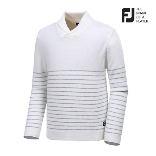 [풋조이] 남성 숄 칼라 스트라이프 스웨터 92658_GA