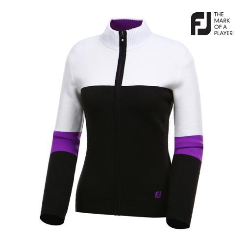 [풋조이] 여성 컬러 배색 풀집업 스웨터 자켓 94556_GA