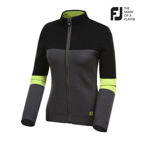 [풋조이] 여성 컬러 배색 풀집업 스웨터 자켓 94555_GA