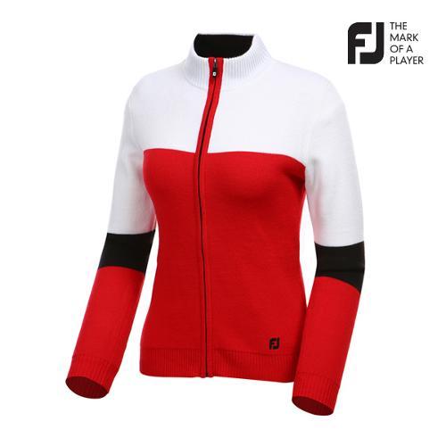 [풋조이] 여성 컬러 배색 풀집업 스웨터 자켓 94557_GA