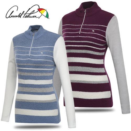 [아놀드파마] 중앙 배색 스웨터 여성 반집업 긴팔티셔츠/골프웨어_240182