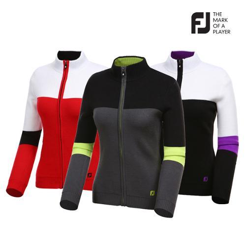 [풋조이] 여성 컬러 배색 풀집업 스웨터 자켓 3종 택1_GA