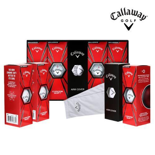 캘러웨이 정품 크롬소프트 트루비스 4피스 골프공_선물세트_팔토시