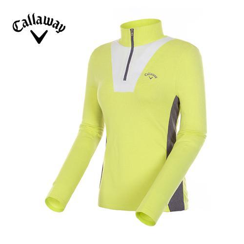 [캘러웨이]여성 컬러 배색 반집업 스웨터 CWSHD7204-204