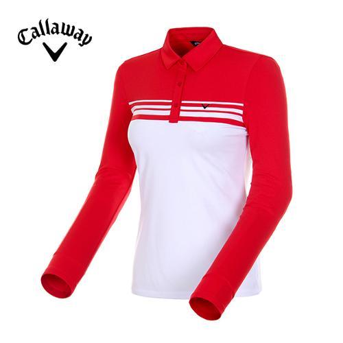 [캘러웨이]18FW 여성 스트라이프 기모 티셔츠 CWTYH7103-500