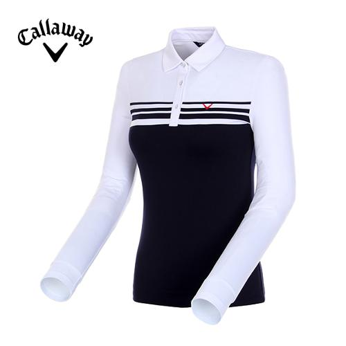 [캘러웨이]18FW 여성 스트라이프 기모 티셔츠 CWTYH7103-100