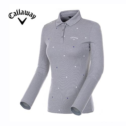 [캘러웨이]18FW 여성 별 프린트 폴로넥 긴팔 티셔츠 CWTYH7102-193