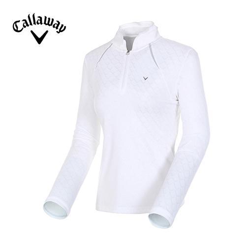 [캘러웨이]여성 자카드 로고 반집업 티셔츠 CWTHE7107-101