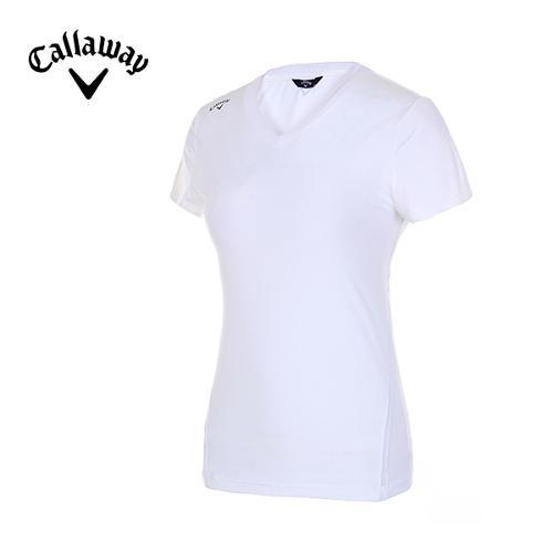 [캘러웨이]여성 솔리드 스트레치 브이넥 티셔츠 CWTRE7144-101