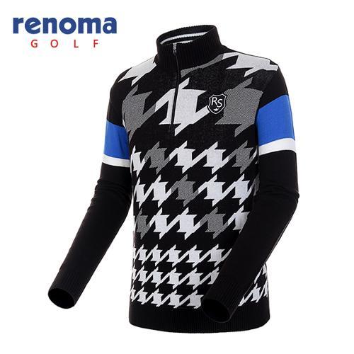 [레노마골프]남성 옵티컬 패턴 반집업 스웨터 RAKP03541-BK