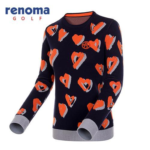 [레노마골프]여성 하트 패턴 코튼 블렌드 스웨터 RWSRF7204-120