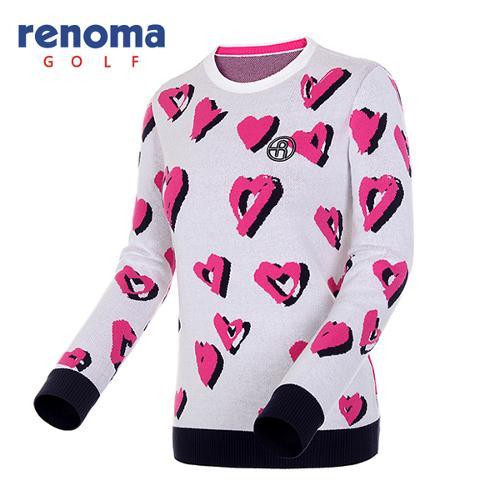 [레노마골프]여성 하트 패턴 코튼 블렌드 스웨터 RWSRF7204-101