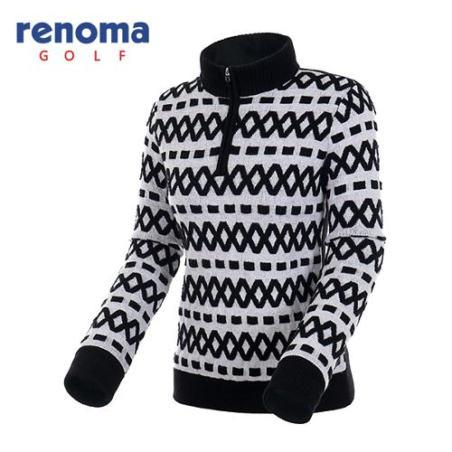 [레노마골프]여성 엠보 패턴 방풍 반집업 스웨터 RAKP72561-BK