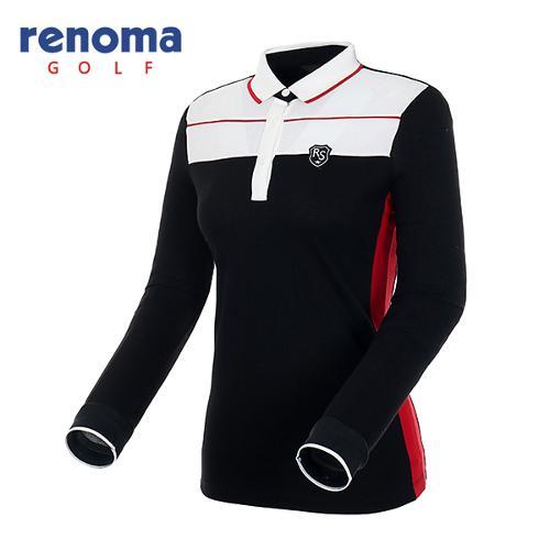 [레노마골프]여성 라인 포인트 폴로넥 티셔츠 RATS53541-BK