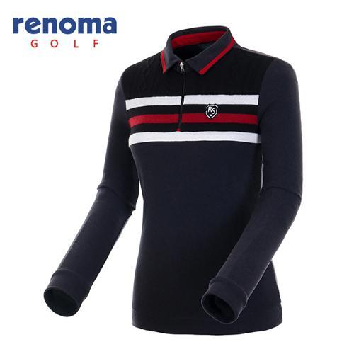 [레노마골프]여성 스트라이프 반집업 티셔츠 RATS77561-BK