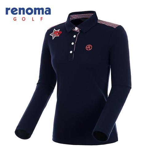 [레노마골프]여성 체크 배색 폴로넥 티셔츠 RWTYF8118-120