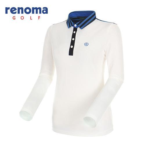 [레노마골프]여성 스트라이프 요크 카라 티셔츠 RATS51541-OW