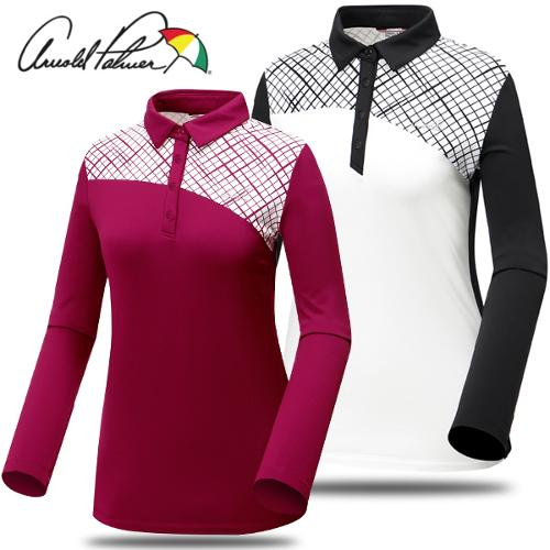 [아놀드파마] 폴리 스판 패턴 카라넥 여성 긴팔티셔츠/골프웨어_241764