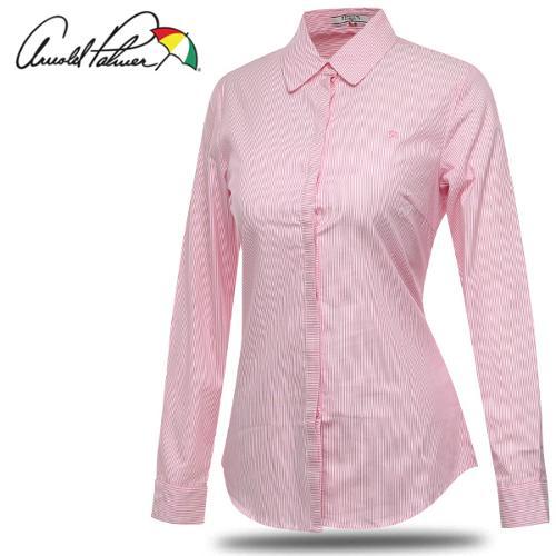 [아놀드파마] 순면 세로 스트라이프 여성 카라넥 긴팔 셔츠/골프웨어_241670