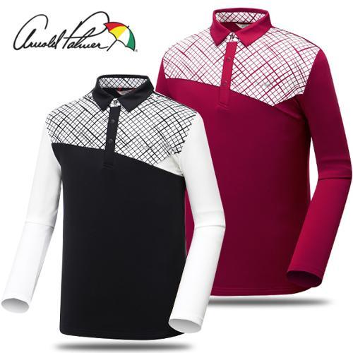 [아놀드파마] 폴리 스판 패턴 배색 카라넥 남성 긴팔티셔츠/골프웨어_241760