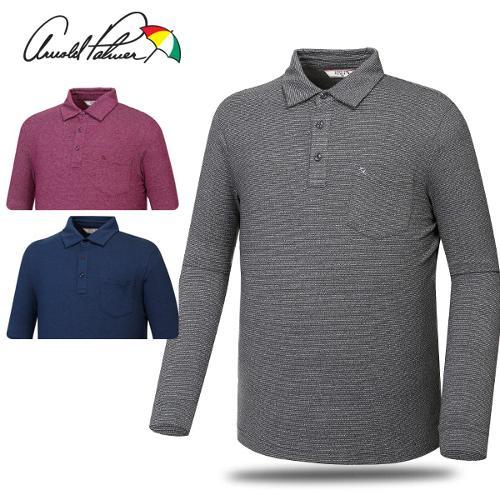 [아놀드파마] 면스판 패턴 카라넥 남성 긴팔티셔츠/골프웨어_241740