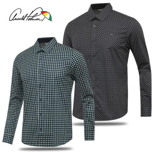 [아놀드파마] 면스판 도형 패턴 남성 카라넥 긴팔 셔츠/골프웨어_241663