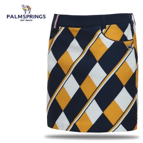 [팜스프링스] 폴리스판 배색 다이아 패턴 여성 골프 큐롯/골프웨어