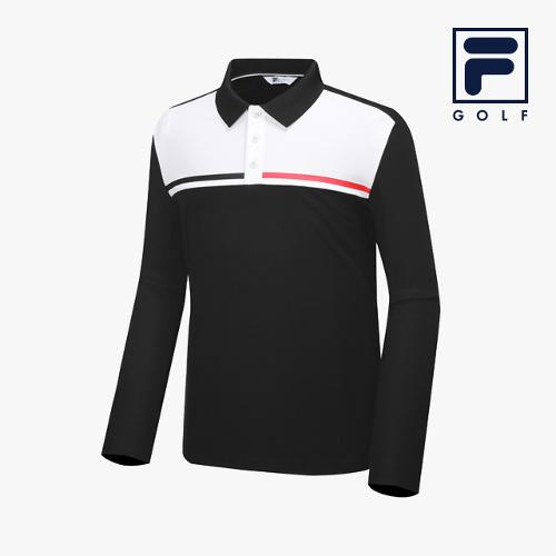 [FILA GOLF] 남성 컬러블럭배색 카라넥 긴팔티셔츠_FG2TLA3705M-BLK_GA