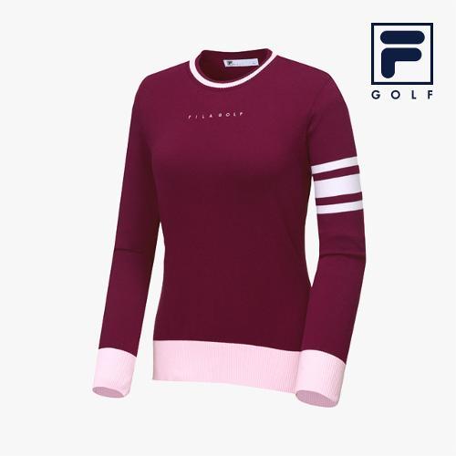 [FILA GOLF] 여성 배색 라운드넥 스웨터_FG2STA3701F-PLM_GA