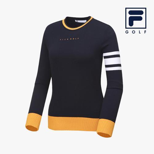 [FILA GOLF] 여성 배색 라운드넥 스웨터_FG2STA3701F-NAY_GA