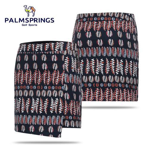 [팜스프링스] 나뭇잎 패턴 여성 골프 큐롯/랩스커트/골프웨어_241944