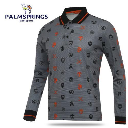 [팜스프링스] 투톤 일러스트 패턴 남성 카라넥 긴팔티셔츠/골프웨어_241988