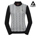 [알레어 골프] 여성 패턴 배색 반집업 가디건(AFB4TP160-WH)
