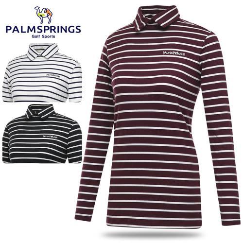 [팜스프링스] 폴리스판 배색 줄무늬 여성 카라넥 긴팔티셔츠/골프웨어_242049