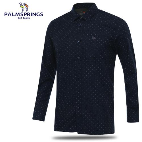 [팜스프링스] 면혼방 도트 패턴 남성 카라넥 긴팔 셔츠/골프웨어_242037
